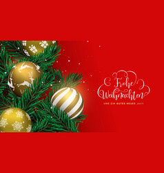 red christmas tree bauble banner in german vector image
