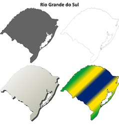 Rio Grande do Sul blank outline map set vector image