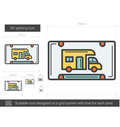 Rv parking line icon vector