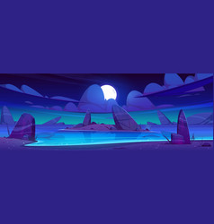 sea beach and island in water with rocks at night vector image