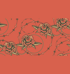 seamless background with flowers and chains vector image