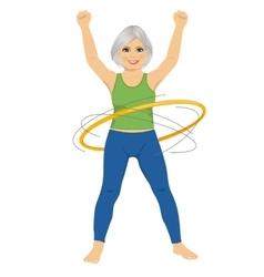 Senior lady doing gymnastic with hula-hoop vector