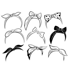 set retro headband for woman collection of vector image