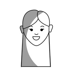 silhouette happy young woman with hairstyle vector image