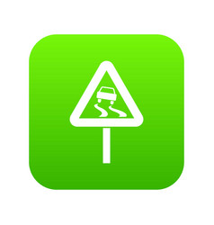 slippery when wet road sign icon digital green vector image