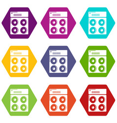 speaker box icons set 9 vector image
