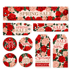 Spring season sale tag and label with rose flower vector