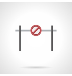 Stop barrier with sign flat color icon vector image