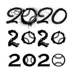 tennis 2020 new year numbers vector image