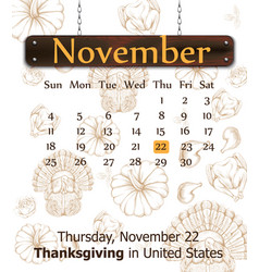 thanksgiving day calendar turkey pumpkins vector image