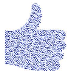 Thumb up mosaic of sinusoid waves icons vector