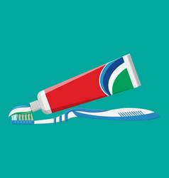 Toothbrush toothpaste brushing teeth vector