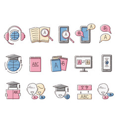 Translation and foreign language learning icons vector