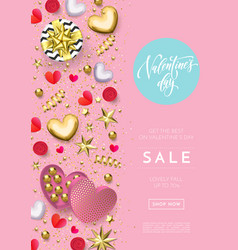 valentines day sale web banner background of vector image