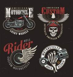 vintage colorful motorcycle labels vector image