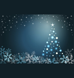 Winter holiday background with snow and fur-tree vector