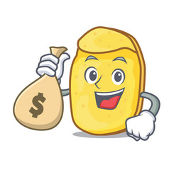 With money bag potato chips character cartoon vector