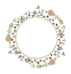 wreath frame with floral pattern vector image