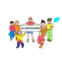 Young children with a poster for all children vector