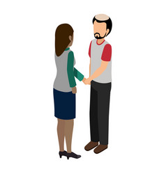 young couple avatars characters isometric vector image