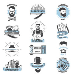 barbershop logo barber cuts male haircut vector image vector image