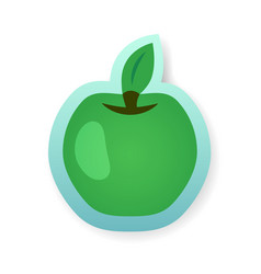 colorful green apple sticker vector image