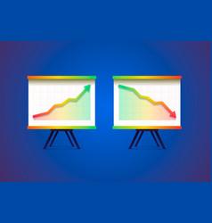 growing and decreasing chart presentation vector image