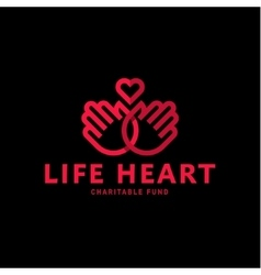 Hands and heart in one line logo flat style trend vector image vector image