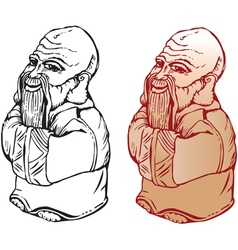 netsuke figure black and white and color pictures vector image vector image