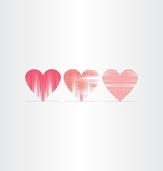 scratched hearts icons set vector image