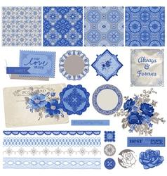 Vintage Porcelain and Flower Set vector image