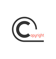 black simple copyright symbol vector image vector image