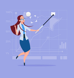 business woman taking selfie photo with stick on vector image