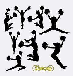 Cheerleader happy girl silhouette vector image vector image