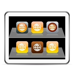 Planet orange app icons vector image vector image
