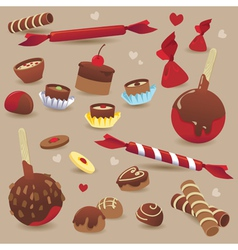 Set of sweet chocolate candy vector image vector image