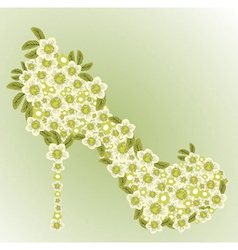 shoe decorated with white flowers vector image vector image