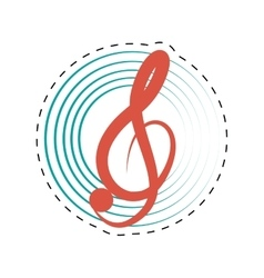 treble clef musical paper icon dotted line vector image vector image