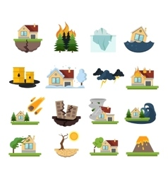 Disaster Damage Icon Set vector image