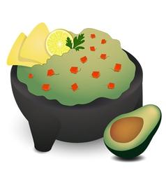 Guacamole in Traditional Mexican Molcajete vector image vector image