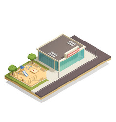 kids playground near shop isometric composition vector image