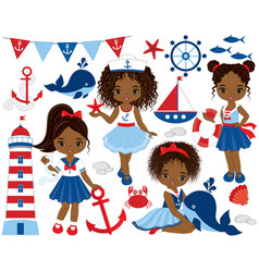 nautical cute little african american girls vector image vector image