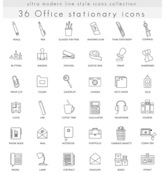 Office Stationery ultra modern outline line vector image