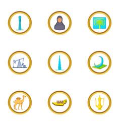 uae travel icons set cartoon style vector image vector image