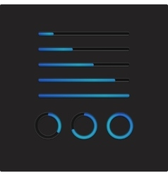 Blue loading bars and spinner vector image vector image