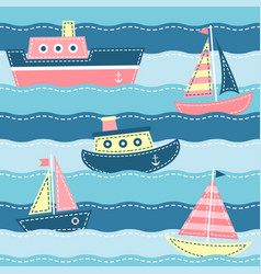 boats on the sea waves vector image