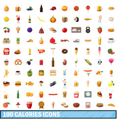 100 calories icons set cartoon style vector