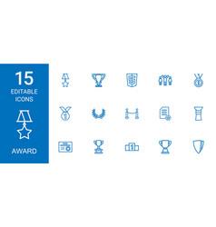 15 award icons vector