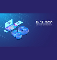5g network internet connected smartphone vector image