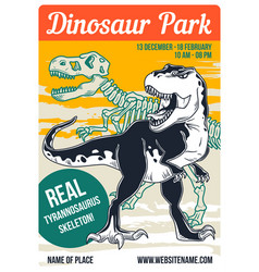 a dinosaur and its skeleton vector image